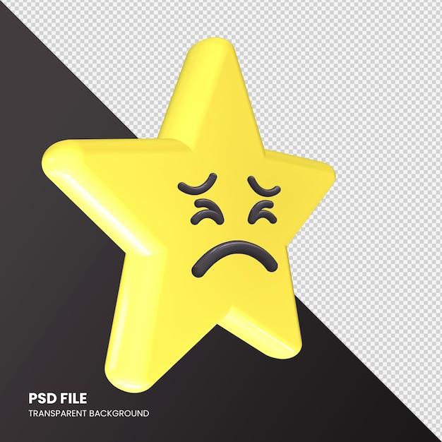 Star Emoji Rendu 3d Visage Persévérant Isolé PSD Premium