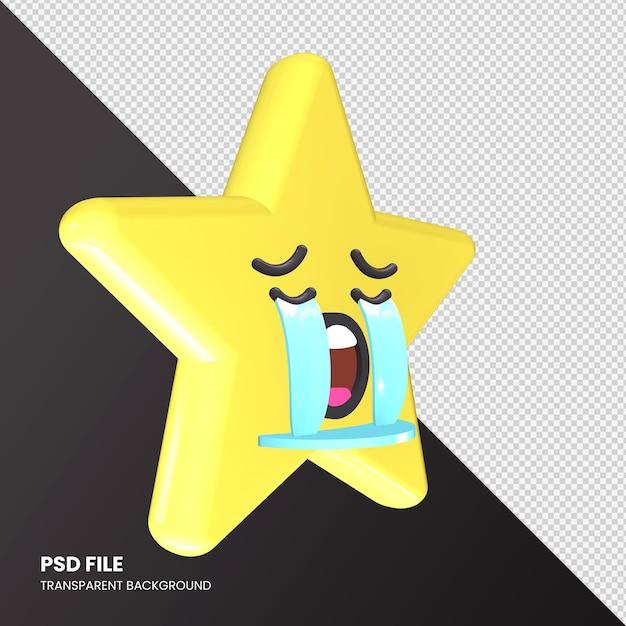 Star Emoji Rendu 3d Visage Pleurant Fort Isolé PSD Premium