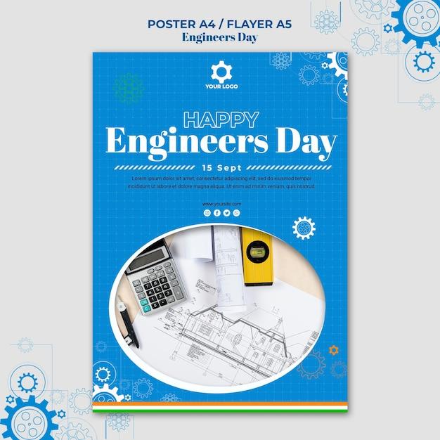 Style D'affiche De La Journée Des Ingénieurs Psd gratuit