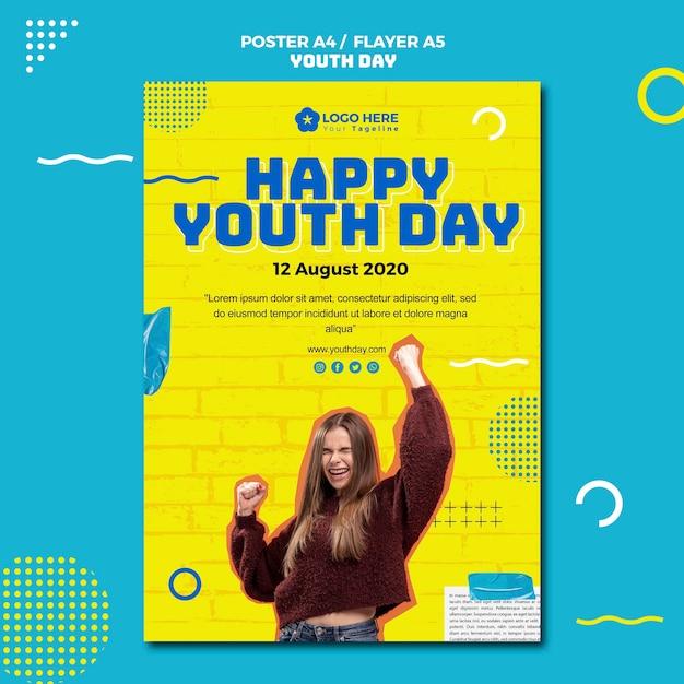 Style D'affiche De La Journée De La Jeunesse Psd gratuit