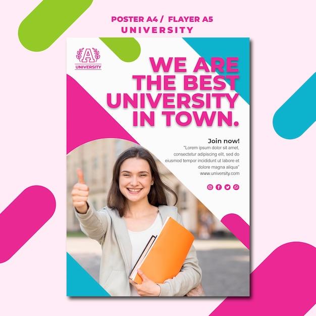 Style D'affiche Universitaire De Concept D'éducation Psd gratuit