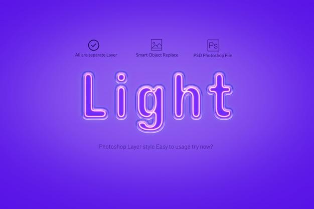 Style d'effet de texte neon light PSD Premium