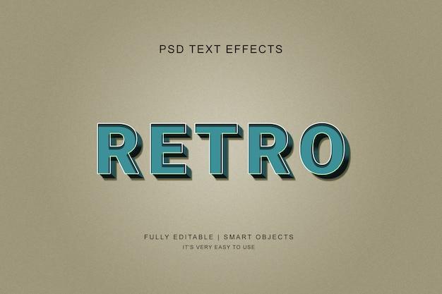 Style d'effet de texte rétro 3d PSD Premium