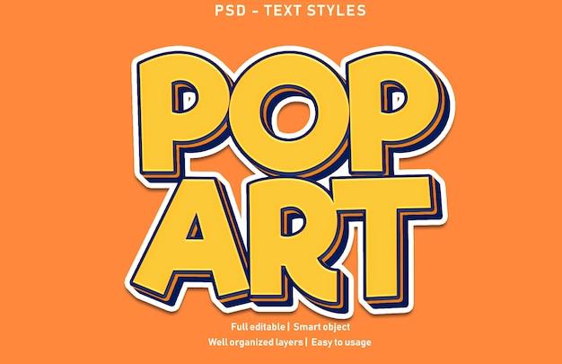 Style D'effets De Texte Pop Art Psd Modifiable PSD Premium