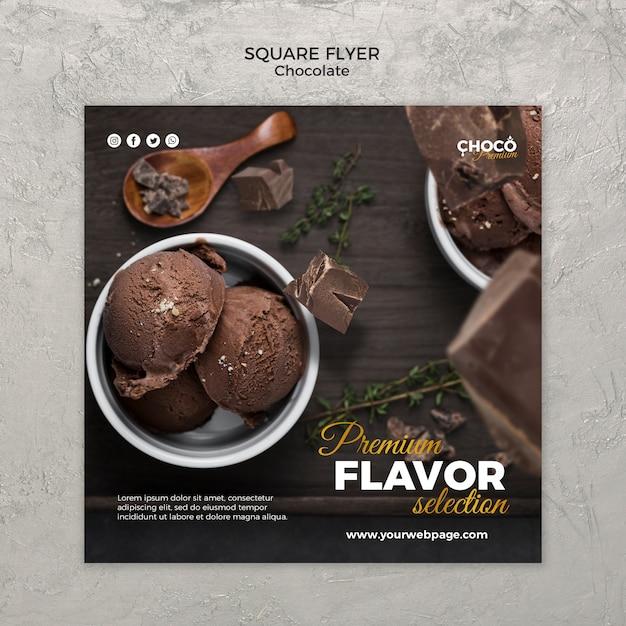 Style De Flyer Carré Concept Chocolat Psd gratuit