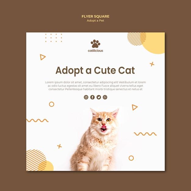 Style De Flyer Carré Pour Adoption D'animaux Psd gratuit
