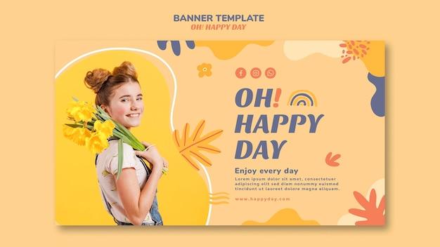 Style De Modèle De Bannière Concept Happy Day Psd gratuit