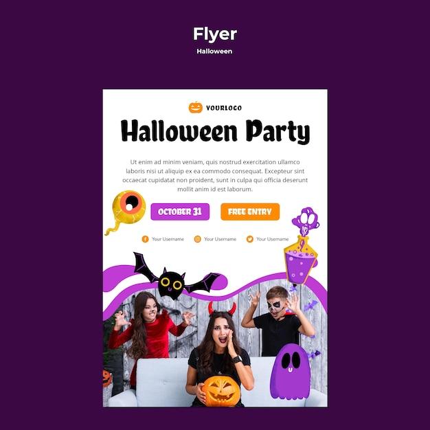 Style De Modèle De Flyer Fête Halloween Psd gratuit