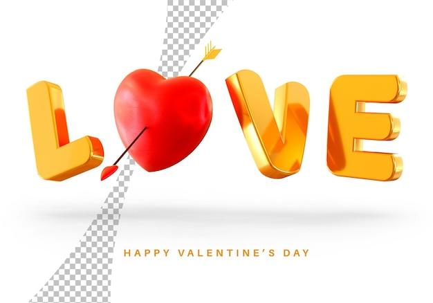 Style De Texte D'amour Flottant Avec Rendu 3d De Coeur Saint Valentin Isolé PSD Premium