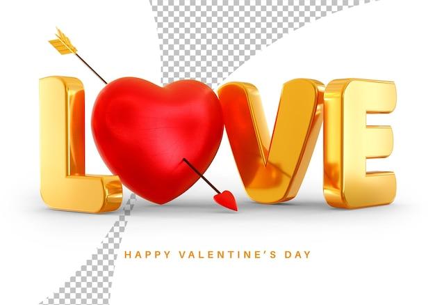 Style De Texte D'amour Avec Le Rendu 3d De Coeur Saint Valentin Isolé PSD Premium