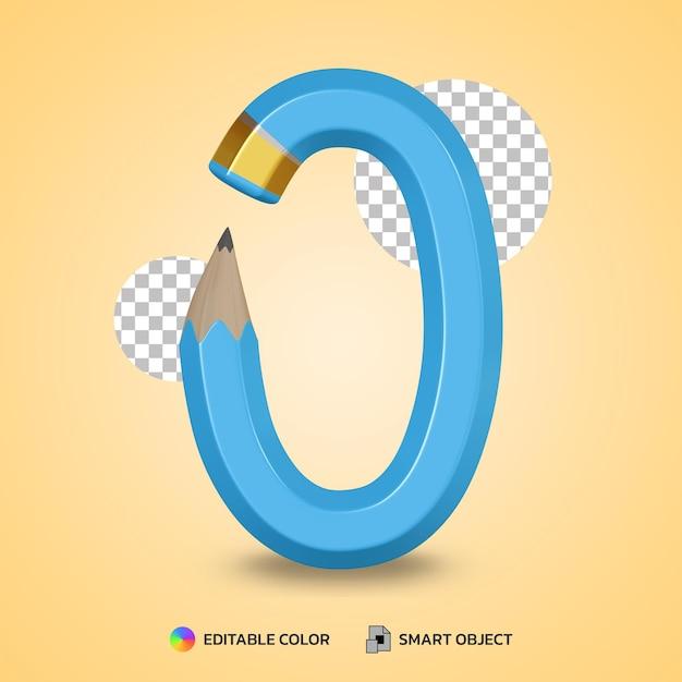 Style De Texte De Couleur De Crayon Flexible Numéro 0 Rendu 3d Isolé PSD Premium