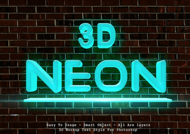 Style de texte néon bleu 3d PSD Premium
