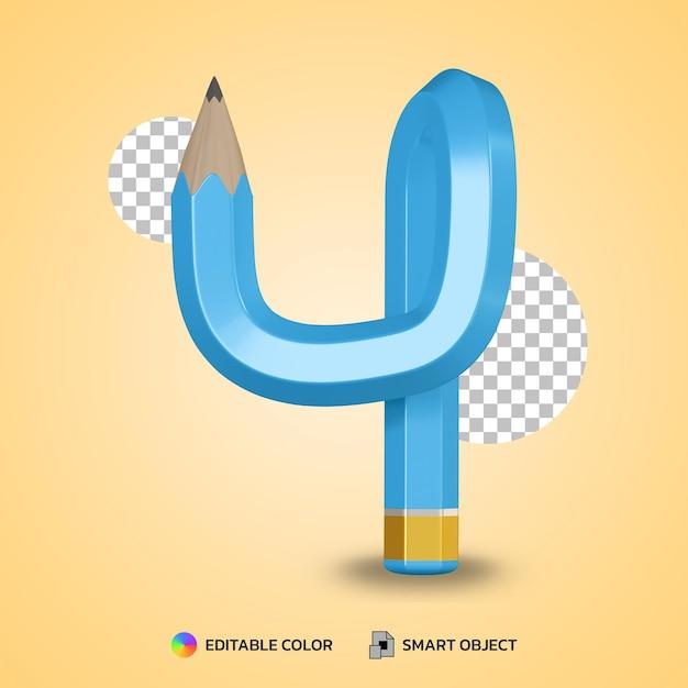 Style De Texte Numéro 4 De Couleur De Crayon Flexible Rendu 3d Isolé PSD Premium