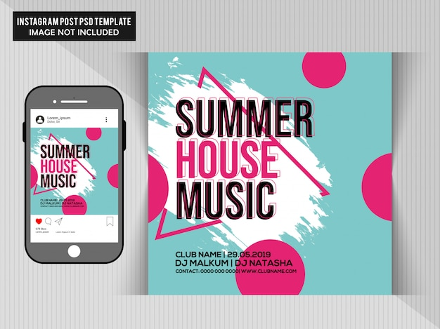Summer house music party flyer PSD Premium
