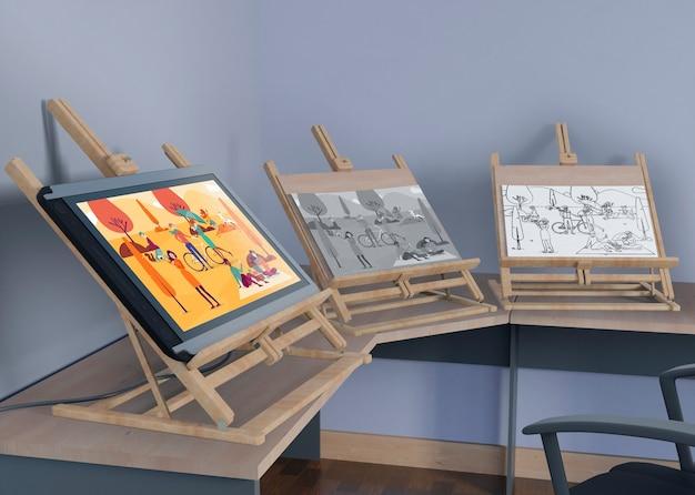 Supports De Peinture Avec Dessin Artistique Psd gratuit