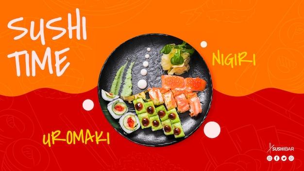 Sushi time avec nigiri et uramaki avec poisson cru pour un restaurant japonais oriental oriental ou sushibar Psd gratuit