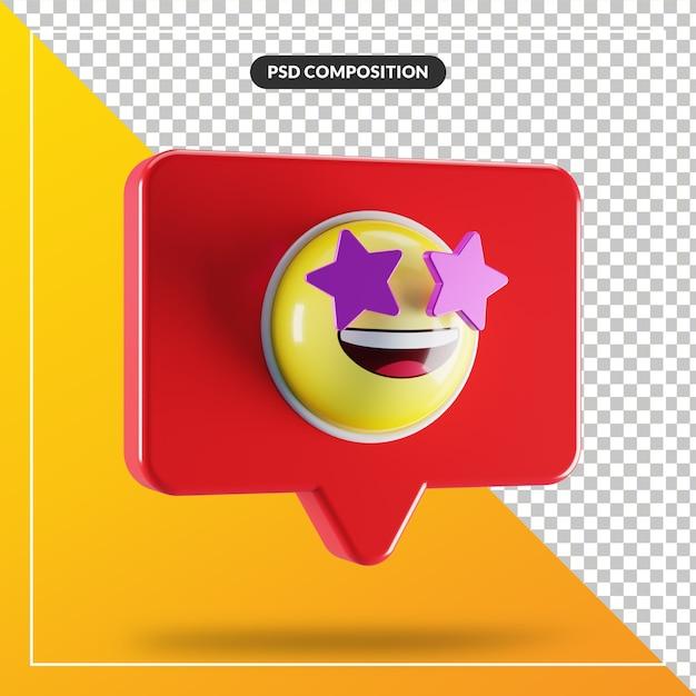 Symbole Emoji De Visage Frappé D'étoile Dans La Bulle De Dialogue PSD Premium