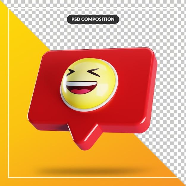 Symbole D'emoji De Visage Souriant Plissant Dans La Bulle De Dialogue PSD Premium