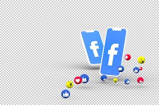 Symbole Facebook Sur L'écran Du Smartphone Ou Du Mobile Et Réactions Facebook PSD Premium