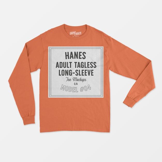 T-shirt à manches longues pour adultes sans étiquette hanes Psd gratuit
