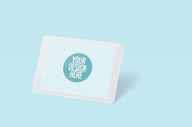 Tablette Horizontale Blanche Isolée Sur Fond Bleu Clair PSD Premium