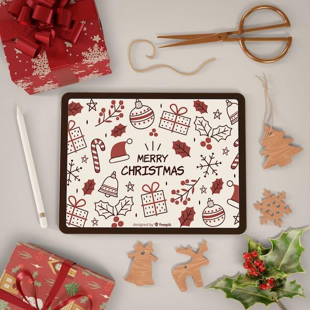 Tablette Moderne Avec Thème Joyeux Noël Sur Psd gratuit