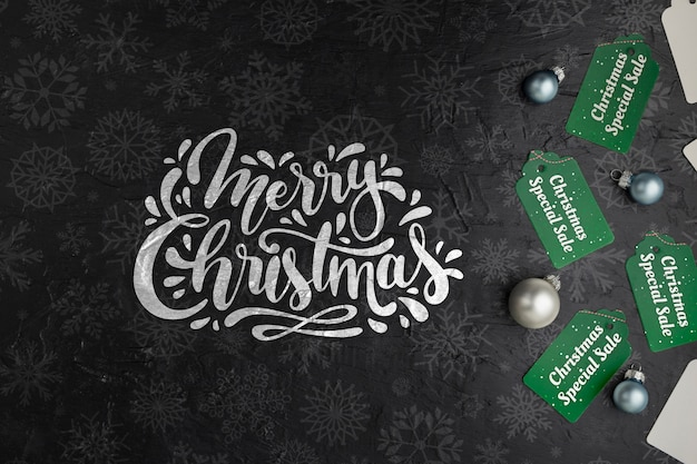 Tags Avec Joyeux Message De Noël Psd gratuit