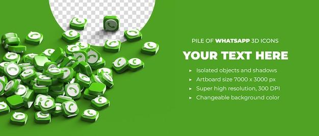 Tas D'icônes De Bouton Logo Whatsapp 3d Dispersés Concept De Médias Sociaux Avec Espace De Fond PSD Premium