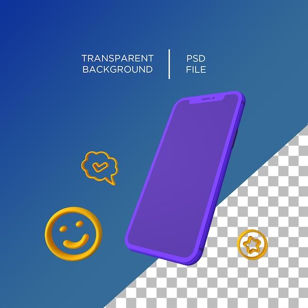 Téléphone 3d Plat Minimaliste Rendu 3d PSD Premium
