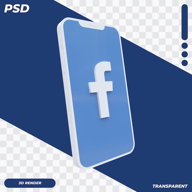 Téléphone Mobile 3d Avec Icône Facebook PSD Premium