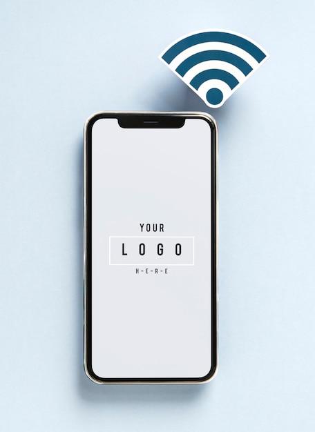 Téléphone portable avec icône wifi Psd gratuit