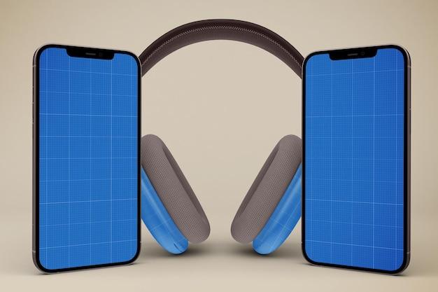 Téléphones De Tête Et Maquette De Téléphone Intelligent PSD Premium