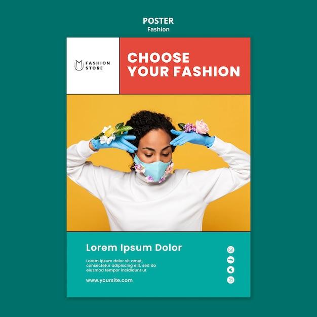 Tendances De La Mode Avec Affiche De Masque Psd gratuit