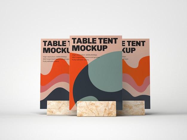 Tente De Table Avec Maquette De Support En Marbre PSD Premium