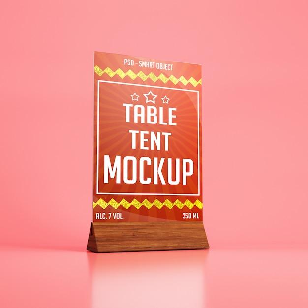 Tente De Table En Verre Avec Maquette De Support En Bois PSD Premium