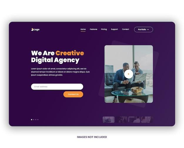 En-tête de page de destination de l'agence numérique PSD Premium