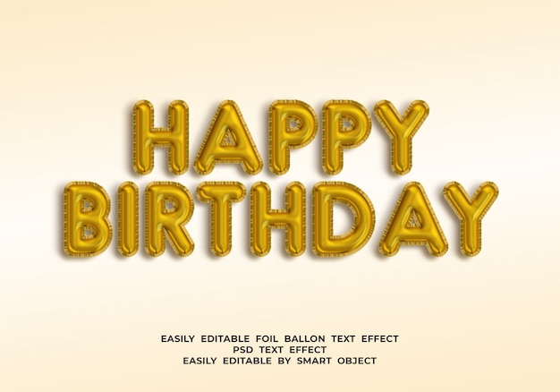 Texte De Joyeux Anniversaire En Style Ballon 3d PSD Premium