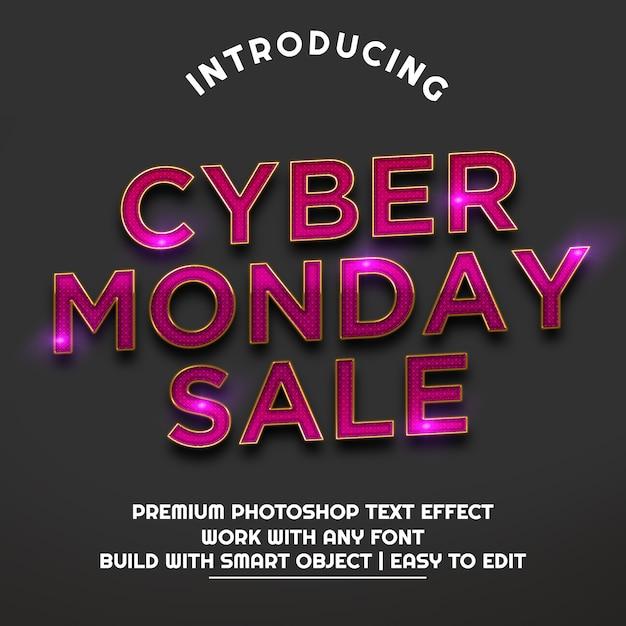 Texte tridimensionnel de la vente cyber monday PSD Premium