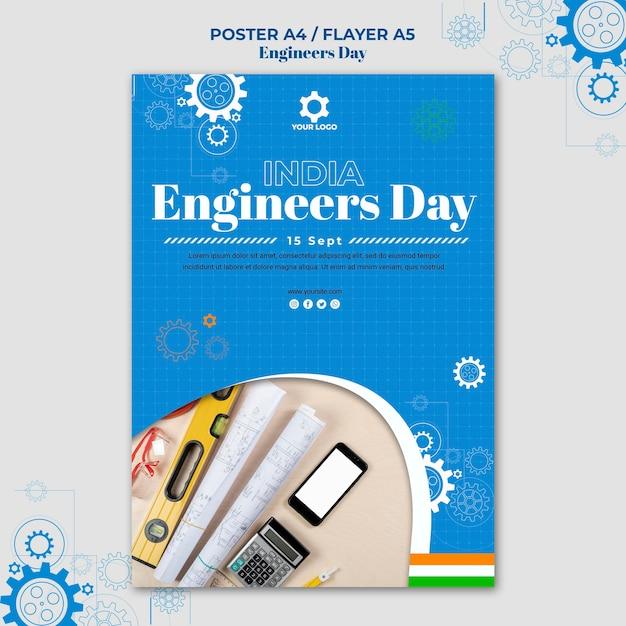 Thème De L'affiche De La Journée Des Ingénieurs Psd gratuit
