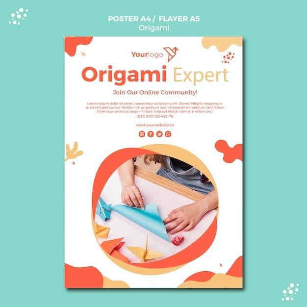 Thème De Modèle D'affiche Origami Psd gratuit