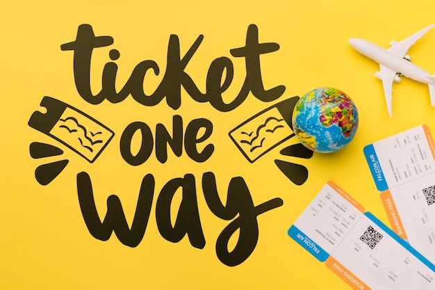 Ticket aller simple, inscription inspirante sur les voyages Psd gratuit