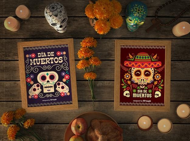 Top Maquettes De Crâne Mexicain Avec Des éléments De Fête Psd gratuit