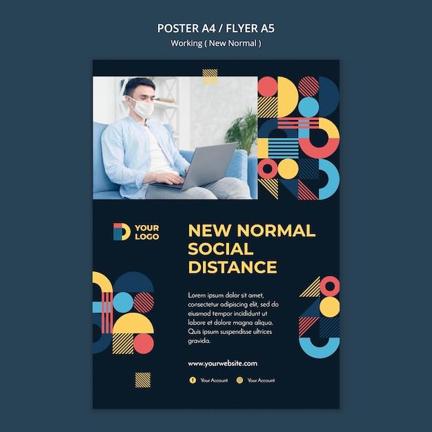 Travailler Dans Le Nouveau Modèle D'affiche De Manière Normale Psd gratuit