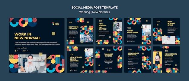 Travailler à La Nouvelle Manière Normale Des Posts Instagram PSD Premium