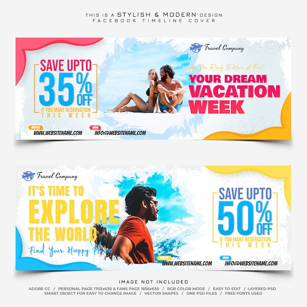 Travel facebook bannières PSD Premium