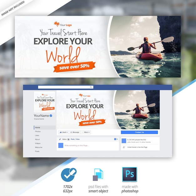 Travel facebook timeline cover bannière PSD Premium