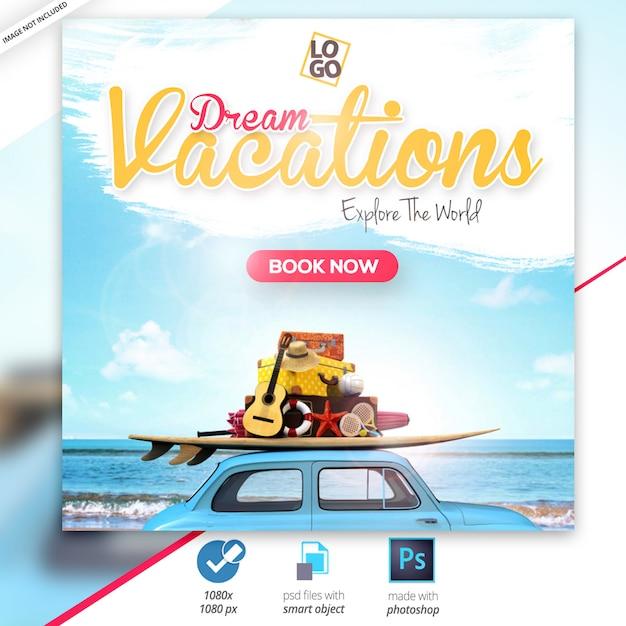Travel - tours instagram banner PSD Premium