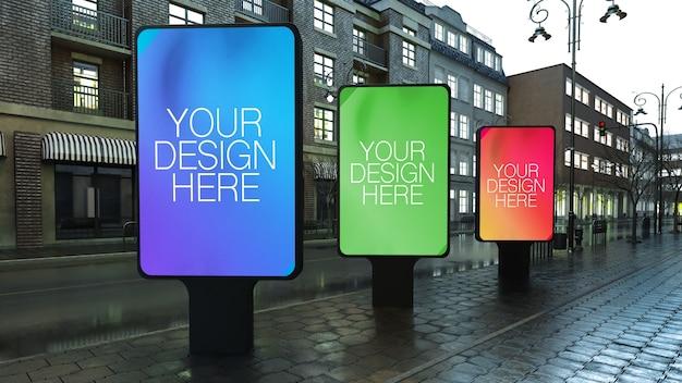 Trois Panneaux D'affichage Dans La Rue Maquette PSD Premium