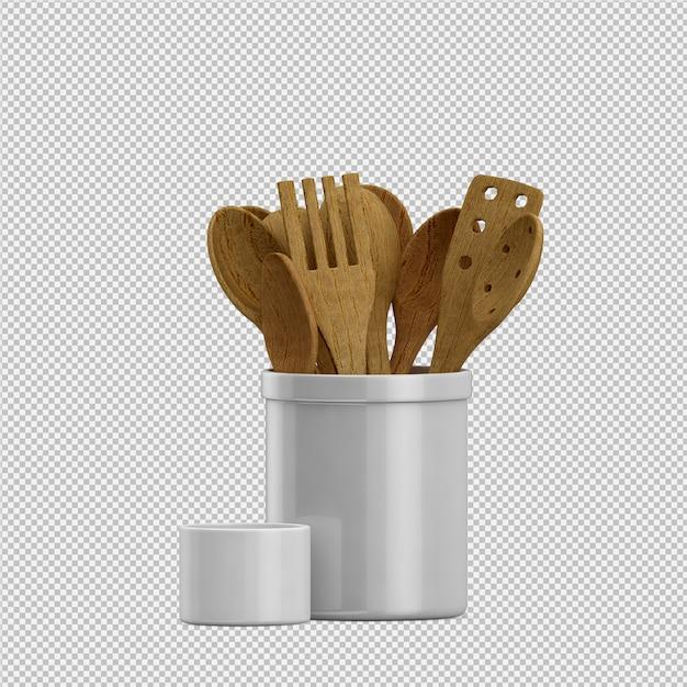 Ustensiles de cuisine isométriques rendu 3d PSD Premium