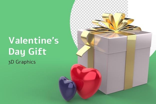 Valentin Amour Coeur Formes Et Boîte-cadeau 3d Isolé PSD Premium
